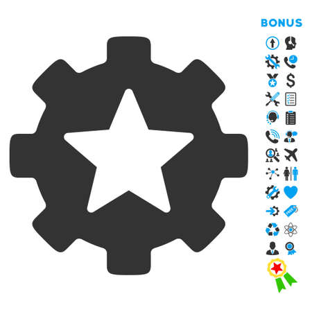 favorites: Favorites Options icon with bonus pictograms. Vector style is bicolor flat iconic symbol with rounded angles, blue and gray colors, white background.
