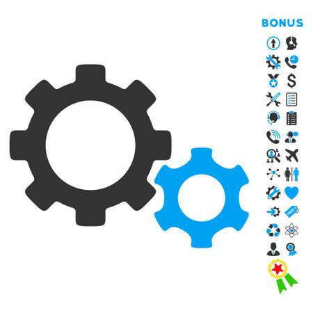 Icona Gears con pittogrammi bonus. Lo stile vettoriale è simbolo iconico piatto bicolore con angoli arrotondati, colori blu e grigio, sfondo bianco. Vettoriali