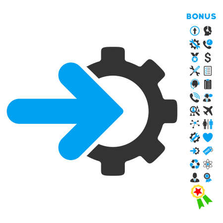 Integration icon with bonus pictograms. Vector style is bicolor flat iconic symbol with rounded angles, blue and gray colors, white background.