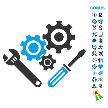 gear box: Mechanics Tools icon with bonus pictograms. Vector style is bicolor flat iconic symbol with rounded angles, blue and gray colors, white background.