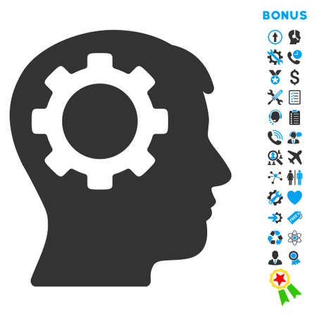 intellect: Intellect icon with bonus pictograms. Vector style is bicolor flat iconic symbol with rounded angles, blue and gray colors, white background.
