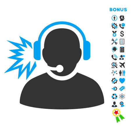 headset voice: Operator Message icon with bonus pictograms. Vector style is bicolor flat iconic symbol with rounded angles, blue and gray colors, white background.