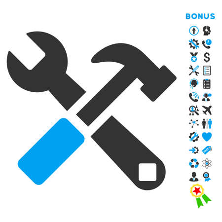 hardware configuration: Hammer and Wrench icon with bonus pictograms. Vector style is bicolor flat iconic symbol with rounded angles, blue and gray colors, white background.