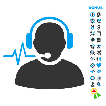 headset voice: Operator Signal icon with bonus pictograms. Vector style is bicolor flat iconic symbol with rounded angles, blue and gray colors, white background. Illustration