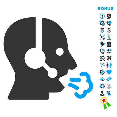 speech icon: Operator Speech icon with bonus pictograms. Vector style is bicolor flat iconic symbol with rounded angles, blue and gray colors, white background.