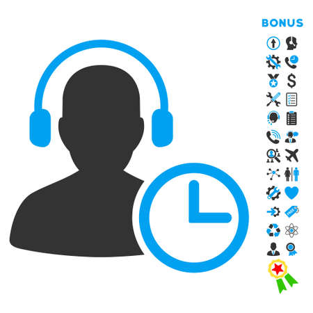 head phones: Operator Time icon with bonus pictograms. Vector style is bicolor flat iconic symbol with rounded angles, blue and gray colors, white background.