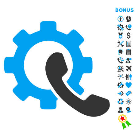Phone Configuration icon with bonus pictograms. Vector style is bicolor flat iconic symbol with rounded angles, blue and gray colors, white background. Illustration