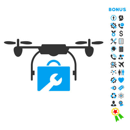 construction icon: Service Drone icon with bonus pictograms. Vector style is bicolor flat iconic symbol with rounded angles, blue and gray colors, white background.