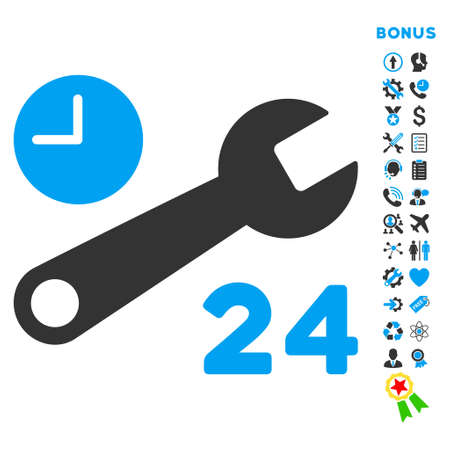 nonstop: Service Hours icon with bonus pictograms. Vector style is bicolor flat iconic symbol with rounded angles, blue and gray colors, white background.