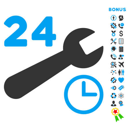 schedule system: Service Hours icon with bonus pictograms. Vector style is bicolor flat iconic symbol with rounded angles, blue and gray colors, white background.
