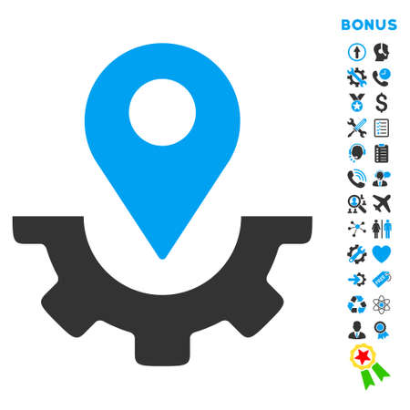 topografia: Servicio icono de marcador de ruta con pictogramas de bonificación. estilo vector es bicolor símbolo icónico plana con ángulos redondeados, colores azul y gris, fondo blanco.