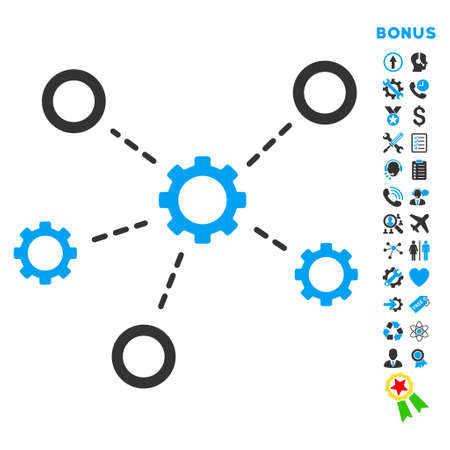 gear box: Service Relations icon with bonus pictograms. Vector style is bicolor flat iconic symbol with rounded angles, blue and gray colors, white background. Illustration