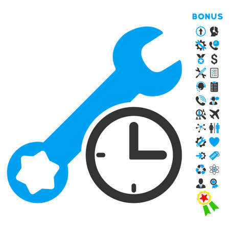 hardware configuration: Service Time icon with bonus pictograms. Vector style is bicolor flat iconic symbol with rounded angles, blue and gray colors, white background.