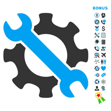 config: Service Tools icon with bonus pictograms. Vector style is bicolor flat iconic symbol with rounded angles, blue and gray colors, white background.