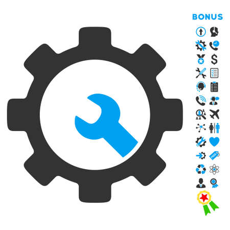 Service Tools icon with bonus pictograms. Vector style is bicolor flat iconic symbol with rounded angles, blue and gray colors, white background.