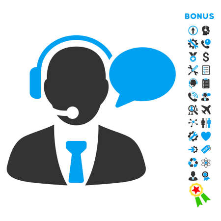 Support Manager Message icon with bonus pictograms. Vector style is bicolor flat iconic symbol with rounded angles, blue and gray colors, white background.