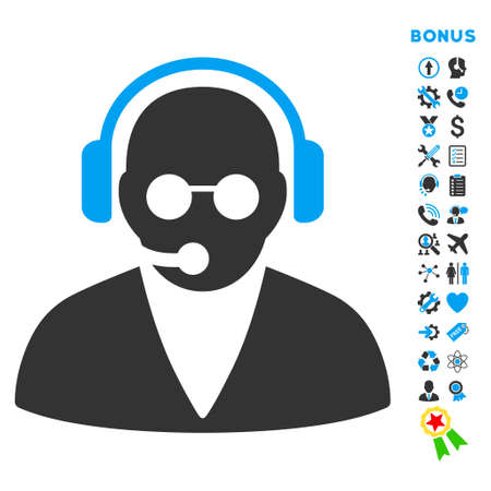 telemarketer: Support Operator icon with bonus pictograms. Vector style is bicolor flat iconic symbol with rounded angles, blue and gray colors, white background.
