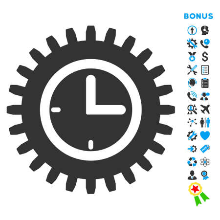 Time Options icon with bonus pictograms. Vector style is bicolor flat iconic symbol with rounded angles, blue and gray colors, white background.