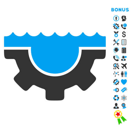 hardware configuration: Water Service icon with bonus pictograms. Vector style is bicolor flat iconic symbol with rounded angles, blue and gray colors, white background.