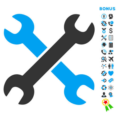 Wrenches icon with bonus pictograms. Vector style is bicolor flat iconic symbol with rounded angles, blue and gray colors, white background.