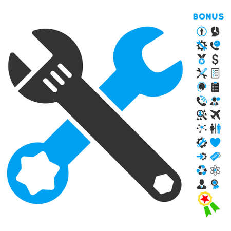 preference: Wrenches icon with bonus pictograms. Vector style is bicolor flat iconic symbol with rounded angles, blue and gray colors, white background.