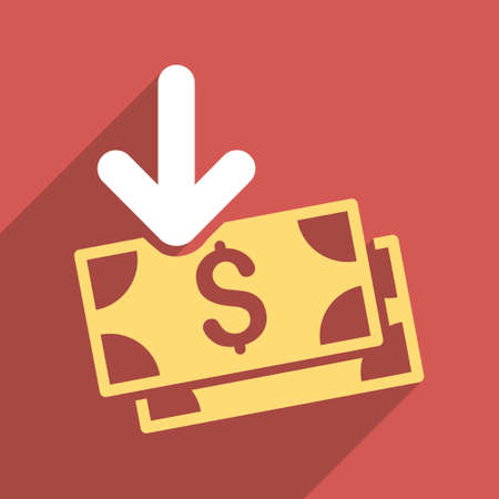 iconic: Dollar Banknotes Income long shadow vector icon. Style is a flat dollar banknotes income iconic symbol on a red square background.