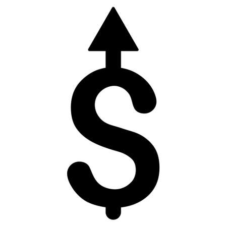 sales trend: Business Growth icon. Vector style is flat iconic symbol with rounded angles, black color, white background.
