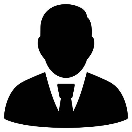 Manager icon. Vector style is flat iconic symbol with rounded angles, black color, white background. Illustration