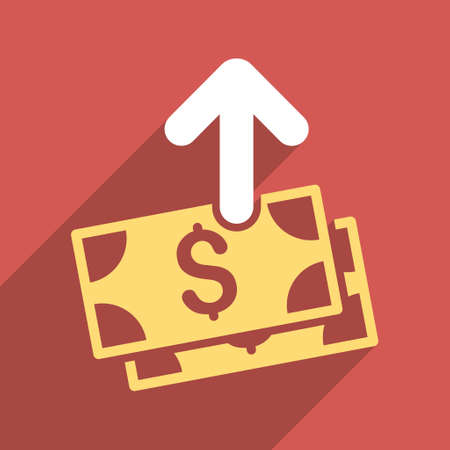 banknotes: Pay Banknotes long shadow vector icon. Style is a flat pay banknotes iconic symbol on a red square background. Illustration