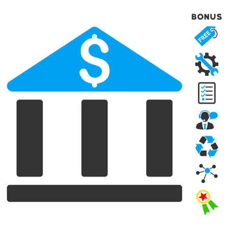 bank office: Bank Office Building icon with bonus pictograms. Vector illustration style is flat iconic bicolor symbols, blue and gray colors, white background, rounded angles. Illustration