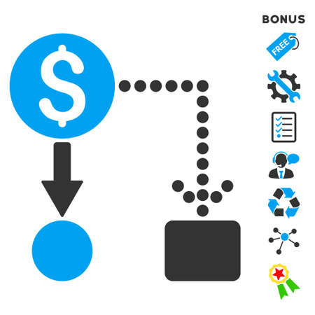 cashflow: Cashflow icon with bonus pictograms. Vector illustration style is flat iconic bicolor symbols, blue and gray colors, white background, rounded angles. Illustration