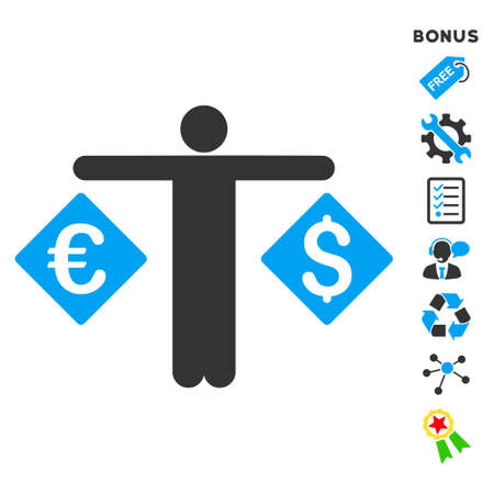 trader: Currency Trader icon with bonus pictograms. Vector illustration style is flat iconic bicolor symbols, blue and gray colors, white background, rounded angles.