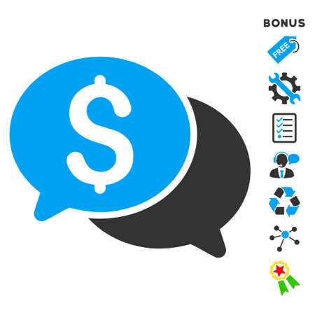 sms payment: Financial Messages icon with bonus pictograms. Vector illustration style is flat iconic bicolor symbols, blue and gray colors, white background, rounded angles. Illustration