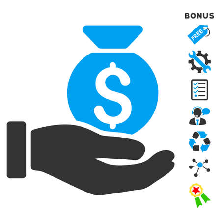 Investment Hand icon with bonus pictograms. Vector illustration style is flat iconic bicolor symbols, blue and gray colors, white background, rounded angles.