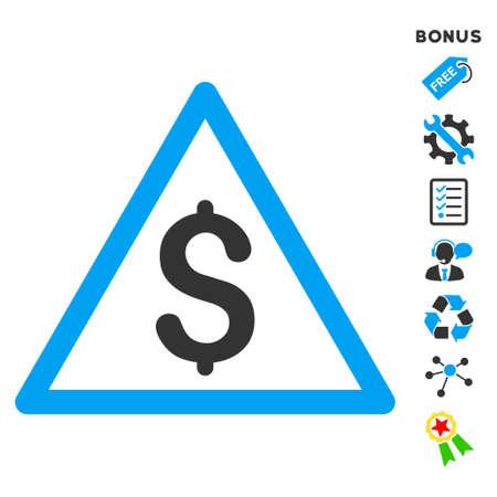 Icono del dinero de bonificación con pictogramas de advertencia. estilo de ilustración vectorial es plana símbolos icónicos bicolor, colores azul y gris, fondo blanco, ángulos redondeados.