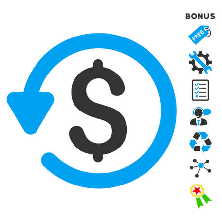 moneyback: Refund icon with bonus pictograms. Vector illustration style is flat iconic bicolor symbols, blue and gray colors, white background, rounded angles.