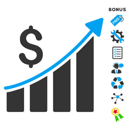 sales growth: Sales Growth Bar Chart icon with bonus pictograms. Vector illustration style is flat iconic bicolor symbols, blue and gray colors, white background, rounded angles.