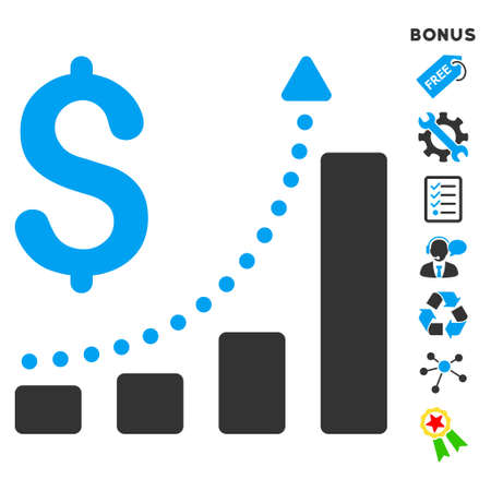 sales growth: Sales Growth icon with bonus pictograms. Vector illustration style is flat iconic bicolor symbols, blue and gray colors, white background, rounded angles.