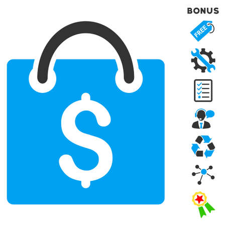 billfold: Shopping Bag icon with bonus pictograms. Vector illustration style is flat iconic bicolor symbols, blue and gray colors, white background, rounded angles.