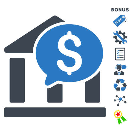 investment real state: Bank Message icon with bonus pictograms. Glyph illustration style is flat iconic bicolor symbols, smooth blue colors, white background, rounded angles.