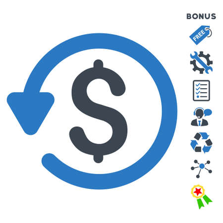 Refund icon with bonus pictograms. Glyph illustration style is flat iconic bicolor symbols, smooth blue colors, white background, rounded angles.