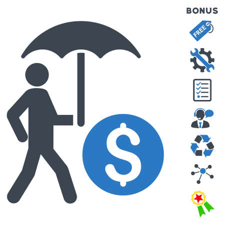 Walking Banker With Umbrella icon with bonus pictograms. Glyph illustration style is flat iconic bicolor symbols, smooth blue colors, white background, rounded angles.