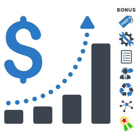 sales growth: Sales Growth icon with bonus pictograms. Glyph illustration style is flat iconic bicolor symbols, smooth blue colors, white background, rounded angles.