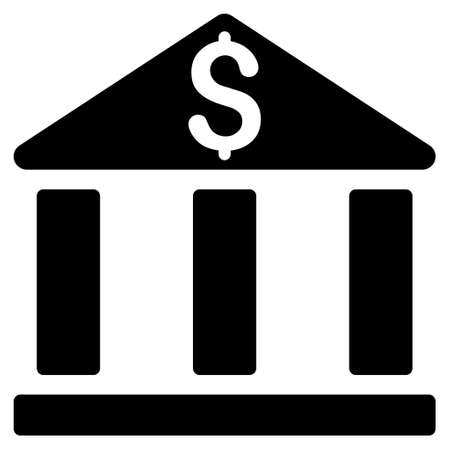 corporative: Bank Office Building icon. Glyph style is flat iconic symbol with rounded angles, black color, white background. Stock Photo