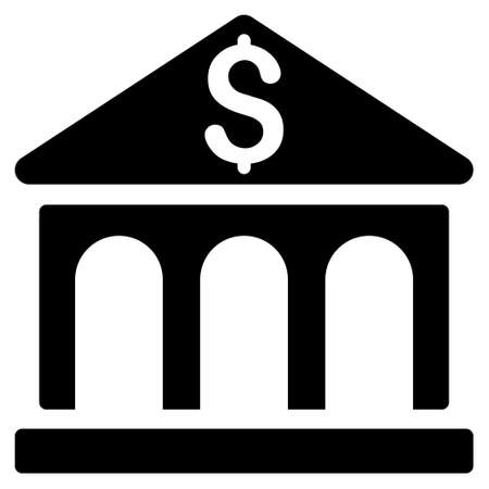 corporative: Bank Building icon. Vector style is flat iconic symbol with rounded angles, black color, white background. Illustration