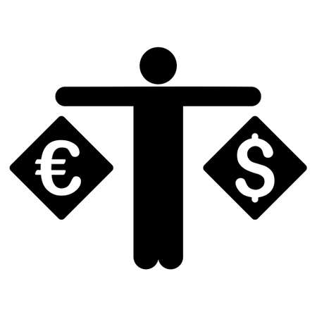 trader: Currency Trader icon. Vector style is flat iconic symbol with rounded angles, black color, white background.