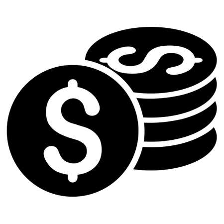 dollar icon: Dollar Coin Stack icon. Vector style is flat iconic symbol with rounded angles, black color, white background.