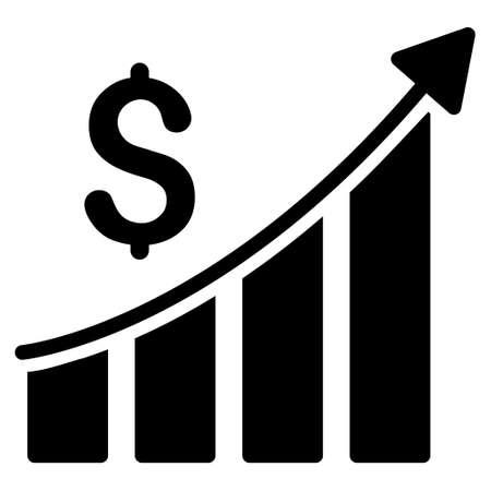 Crecimiento de las ventas de gráfico de barras icono. estilo vector es símbolo icónico plana con ángulos redondeados de color negro, fondo blanco.