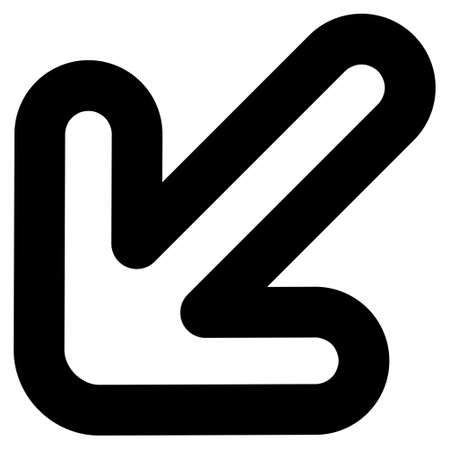 inclination: Left-Down Arrow vector icon. Style is contour flat icon symbol, black color, white background.