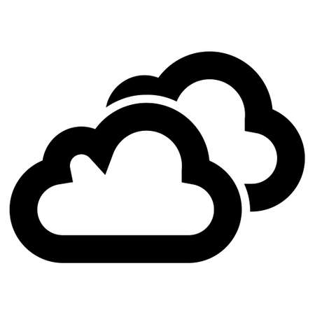 saas: Clouds vector icon. Style is linear flat icon symbol, black color, white background. Illustration